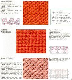 punti a maglia:  nido d'ape, punto asterisco, semi sparsi