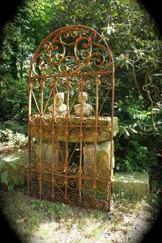 Old wrought iron garden gates Wrought Iron Garden Gates, Garden Gates And Fencing, Fences, Rusty Garden, Porch Plants, Vintage Garden Decor, Garden Whimsy, Metal Fence, Iron Art