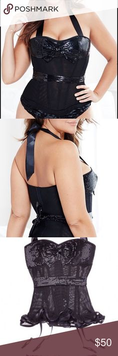 Plus size corset Plus size sexy black corset,  with sequence trimming. Ties around the neck and around the bust. Intimates & Sleepwear