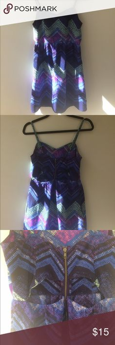 Geometric cutout sundress Silky geometric sundress with back cutouts and back zipper. Super versatile piece; can sweet, edgy, bohemian, etc. with the right accessories. Perfect for a date night! American Eagle Outfitters Dresses Midi