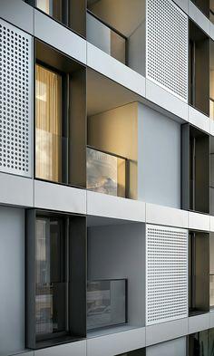 Modern condominium exterior design.