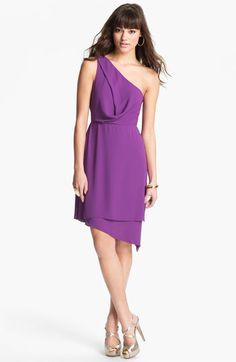 Perfect purple.   BCBGMAXAZRIA One Shoulder Asymmetrical Chiffon Dress @Nordstrom