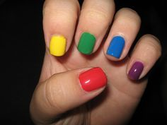 Nails for a lumo party! Cow Nails, Feet Nails, Summer Acrylic Nails, Summer Nails, Rainbow Nails, Yellow Nails, Stiletto Nails, Pink, Nail Colors