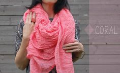 May Scarf by Martha McQuade:  As soft as a cloud and the color of yummy sorbet. Made of hand dyed, 100% cotton and available in long/skinny, regular, Big and Giant #Scarf #Cotton #Martha_McQuade