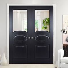 Versailles 2 Panel Black Primed Internal Door Pair with Clear Safety Glass - Lifestyle Image.    #blackdoors