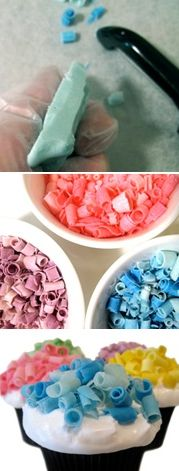 Love this... How to make Colored Chocolate Curls for decorating cakes, cupcakes, etc.