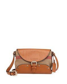 c8534e455f63 Burberry Brit Leather   Check Canvas Crossbody Bag Saddle Brown Canvas  Crossbody Bag