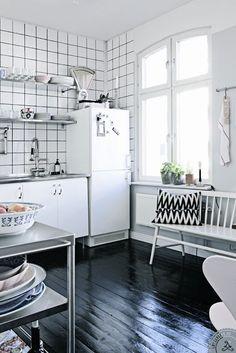 black white small kitchen