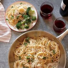 Low-Calorie Spring Menus | Spaghetti with Anchovies, Garlic, and Red Pepper with Lemon-Caper Broccoli  | MyRecipes.com