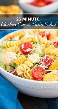 This Chicken Caesar Pasta Salad is a simple dish that's ready in less than 30 minutes. Romaine lettuce, fresh pasta, chicken, and Parmesan cheese are tossed in Pasta Recipes, Salad Recipes, Dinner Recipes, Dinner Ideas, Chicken Recipes, Superfood Recipes, Healthy Recipes, Delicious Recipes, Chicken Caesar Pasta Salad