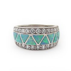 "FAAAAVORITE. I. DIE. This is amazingly perfect.   ""Moonlit Sea"" Women's Opal and Diamond Wedding Band"
