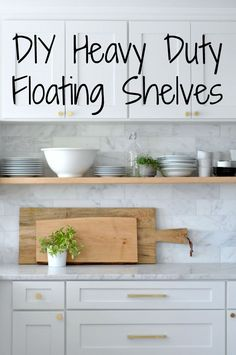 DIY: Heavy Duty, Bracket-Free Floating Kitchen Shelves These are super simple and inexpensive to make. Just use 2x12 framing lumber and threaded rods to install them without any visible brackets. Then load up all those dishes!
