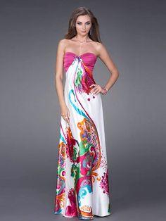 A-line Style Strapless Sweetheart Neckline Empire Waist Print Evening Dresses