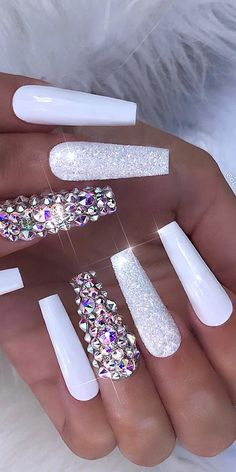 rhinestone nails — 32 Extraordinary White Acrylic Nail Designs to Finish Your Trendy Look – White A… Nail Art Designs, White Nail Designs, Acrylic Nail Designs, Creative Nail Designs, Creative Nails, Rhinestone Nails, Bling Nails, Rhinestone Nail Designs, Bling Nail Art