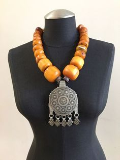 Coin Metal Pendant Copal Bead Necklace #123   Jewelry & Watches, Ethnic, Regional & Tribal, Asian & East Indian   eBay!