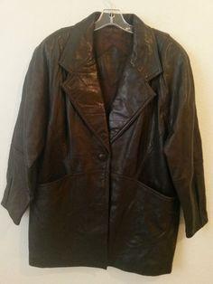 Preston & York - Womens Soft Lamb Skin Coat/Blazer Size Medium Lined Brown Jacket #PrestonYork #BasicJacket