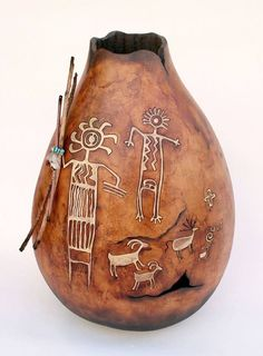 See these beautiful gourds! Plus Tall Body vases now available for a limited time! Decorative Gourds, Hand Painted Gourds, Native American Pottery, Native American Art, Ceramic Pottery, Ceramic Art, Southwestern Art, Gourd Art, Native Art