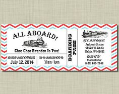 Train Ticket Invitations Train Birthday Invitations  Ticket