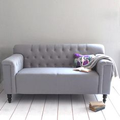 Rowen and Wren: 10 Favorite Things For The Living Room. A button-backed sofa in soft grey New Living Room, Small Living, Home And Living, Living Spaces, Gray Sofa, Grey Loveseat, Grey Couches, Sofa Home, Contemporary Sofa