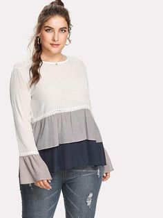 3a051e70485 Plus Contrast Lace Layered Ruffle Hem Top Plus Size Blouses