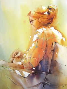 Murielle Vanhove - love the loose quality of this painting. Watercolor Artists, Watercolor Portraits, Watercolor Illustration, Watercolour Painting, Painting & Drawing, Watercolors, Painting People, Figure Painting, Art Des Gens