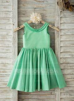 A-Line/Princess Knee-length Flower Girl Dress - Cotton Sleeveless Scoop Neck (010093388) - JJsHouse