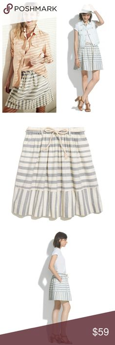 "Madewell / dock stripe skirt With playful muted stripes, soft gathers and a rope-tie belt, this skirt is an understated nod to nautical style. * Full mini. * 19 1/4"" long. * Cotton. * Pocket. * Machine wash. * Import. * Item A4772. Madewell Skirts Mini"
