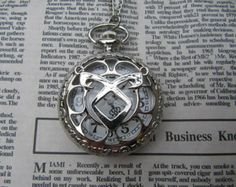 SALE 1PCS -silver the mortal instruments angelic Power Rune Pocket Watch Necklace mens jewelry