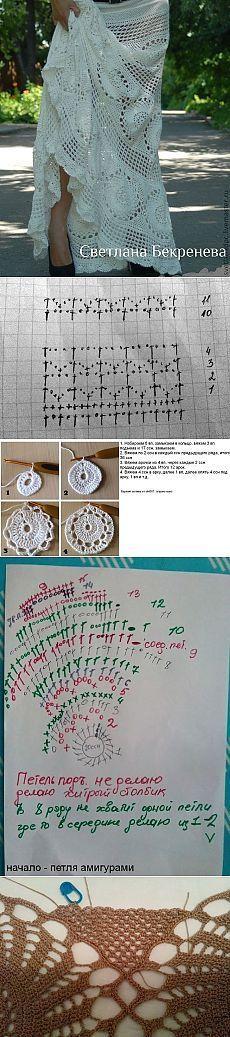 White skirt in a floor. Gilet Crochet, Crochet Blouse, Crochet Stitches, Knit Crochet, Crochet Skirts, Crochet Clothes, Make Up Organizer, Knitting Patterns, Craft Ideas
