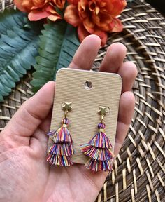 Mini Multicolor Layered Tassel Earring Gold Star Stud Colorful Small Layered Tassel Earrings Small L Tassel Earing, Tassel Jewelry, Cute Jewelry, Jewelry Accessories, Fashion Accessories, Diy Jewelry, Tassel Earrings Outfit, Diy Earrings, Statement Earrings