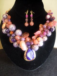 Amethyst/Coral Beads/Purple Druzy Pendant Hand Crocheted on Gold