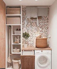 Small Laundry Rooms, Laundry Room Organization, Laundry In Bathroom, Small Rooms, Small Bathroom, Bathroom Storage, Storage Organization, Laundry Decor, Laundry Storage