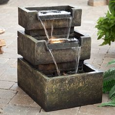 Inverness Indoor/Outdoor Fountain - The sound of trickling water adds tranquility to any space. Though you can use it indoors or outdoors, the Inverness Fountain really shines in a garden,. Patio Fountain, Fountain Design, Tabletop Fountain, Fountain Ideas, Fountain House, Indoor Water Fountains, Indoor Fountain, Garden Fountains, Outdoor Fountains