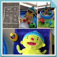 Oef wat warm! - Themahoek/tafel - UK&Puk. Puk in het zwembad.