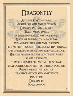 Not a believer in wiccan beliefs, but dragonflies represent my sister. This speaks to me. Dragonfly Poster Size Wicca Pagan Witch Totem Goth Punk Book of Shadows Bd Art, Animal Spirit Guides, Dragonfly Tattoo, Dragonfly Quotes, Dragonfly Symbolism, Dragonfly Art, Hummingbird Symbolism, Dragonfly Images, Under Your Spell