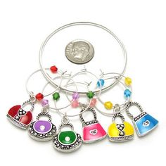 Wine Charms ~ Handbags Wine Glass Charms Set of 6 (Red, Purple, Green, Pink, Yellow, Blue)