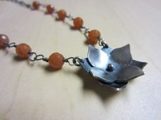 Double Layered Lotus and Carnelian by ChrissyGemmillJewels on Etsy, $80.00