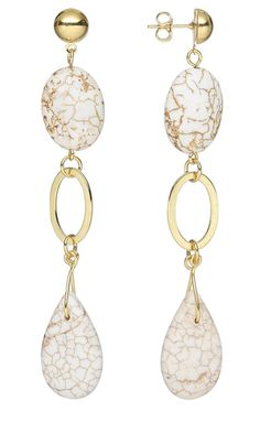 These earrings are called Spider's Web II because of the web-like pattern of the white magnesite.  Jewelry Design - Earrings with Magnesite Gemstone Beads - Fire Mountain Gems and Beads