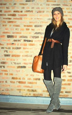 sweater coat and high suede boots!