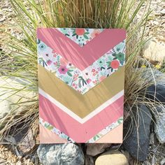Beautiful 11x15 mixed media chevron sign. Hand painted chevrons in shades of pink and metallic gold. Wood frame option available, please contact me