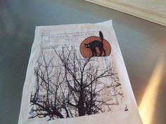 Halloween quilt square, black cat, sew on patch, quilt block, cotton muslin art…