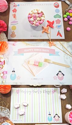 ひな祭りパーティーの飾り付けにすぐに使えるプレースマット3種無料テンプレート Happy Girls Day, Girl Day