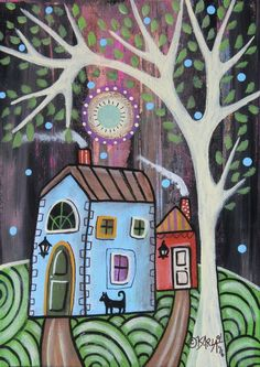 Cool Nights 1 ORIGINAL Canvas Panel PAINTING FOLK ART 5 x 7 tree cat Karla G #FolkArtAbstractPrimitive