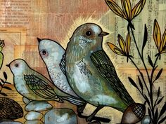 "Detail, ""Southwestern Icon,"" by Trish Grantham. Art Journal Pages, Art Journals, Journal Ideas, Encaustic Art, Bird Art, Art Forms, Altered Art, Collage Art, Art Lessons"