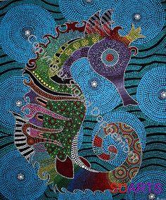 Seahorse 60 x 50cm sigriddophemont@hotmail.com Aboriginal Dot Painting, Dot Art Painting, Mandala Painting, Encaustic Painting, Indigenous Australian Art, Indigenous Art, Illustration Photo, Arte Tribal, Art Africain