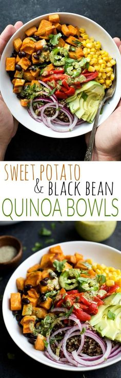 Easy SWEET POTATO BLACK BEAN QUINOA BOWLS topped with a zesty Cilantro Dressing you'll want to pour all over. A fresh vegetarian meal that will satisfy even those meat lovers! | http://joyfulhealthyeats.com #glutenfree
