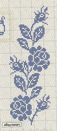 Crochet on Stylowi. Cross Stitch Borders, Cross Stitch Rose, Crochet Borders, Cross Stitch Flowers, Cross Stitch Charts, Cross Stitch Designs, Cross Stitching, Cross Stitch Embroidery, Embroidery Patterns