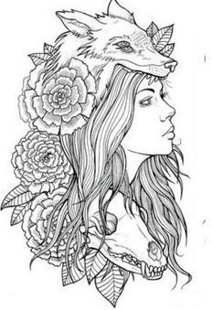 girl with wolf headdress tattoo - Google Search