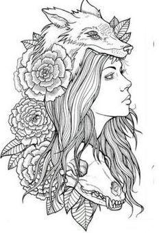 girl with wolf headdress tattoo - Google Search