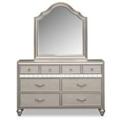 Serena Dresser and Mirror - Platinum | American Signature Furniture